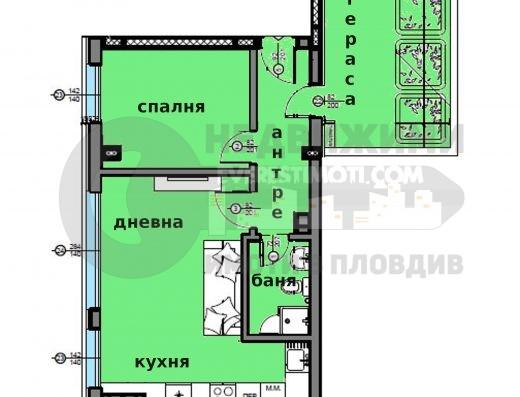 Двустаен апартамент до Водната палата в Пловдив