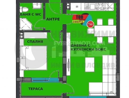 Двустаен южен апартамент до МОЛ Пловдив в кв.Смирненски
