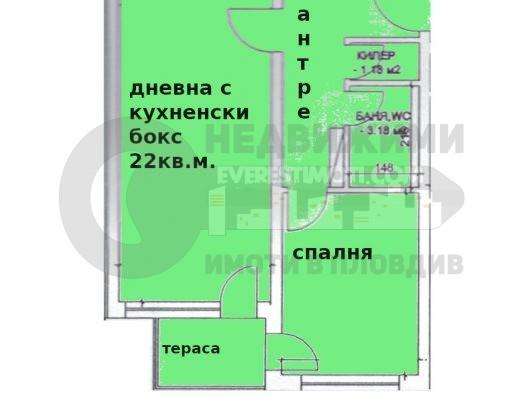 Двустаен апартамент в Кючук Париж– Пловдив