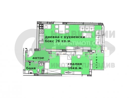 Двустаен апартамент в Лукс сграда в Пловдив
