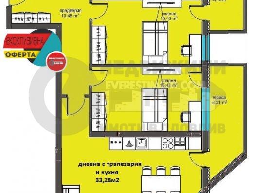 Многостаен апартамент в Дизайнерска сграда в Кючук Париж–Пловдив