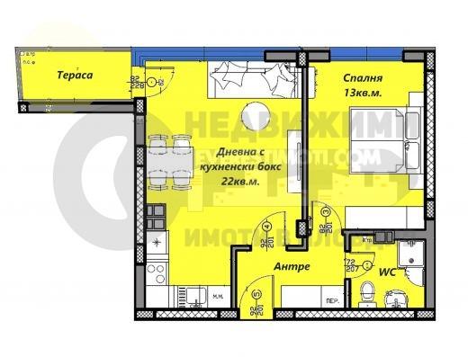 Двустаен апартамент в нова сграда в кв.Кършияка- Пловдив