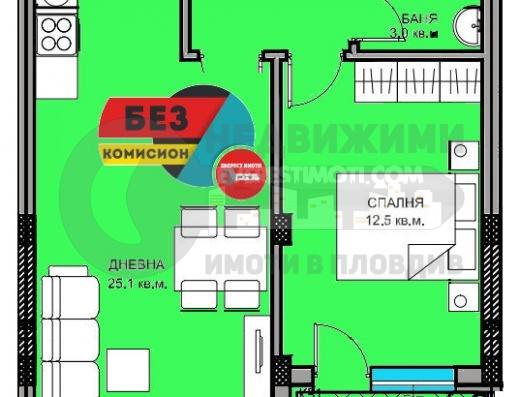 Двустаен нов апартамент в Кючук Париж /Гараж/-Пловдив