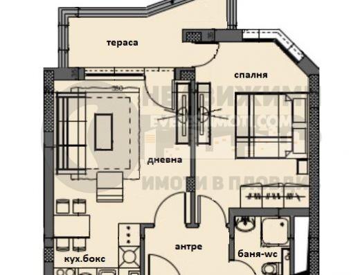 Двустаен апартамент с акт16 в Смирненски–Пловдив
