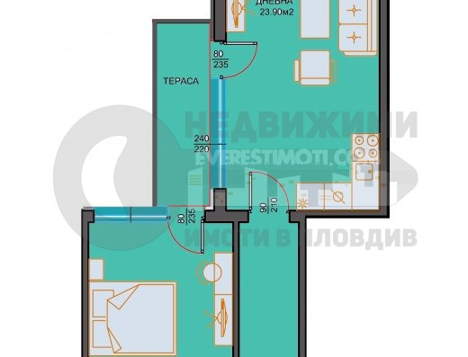Двустаен апартамент в красива нова сграда в Тракия- Пловдив