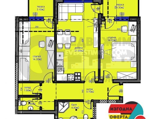 Тристаен нов апартамент в красива сграда, в Каменица II-гр.Пловдив