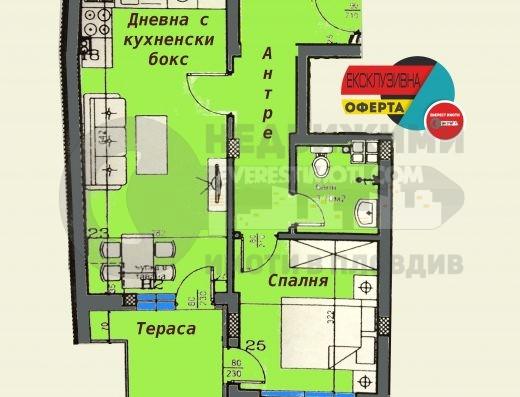 Двустаен нов апартамент до х–л Санкт Петербург– Пловдив