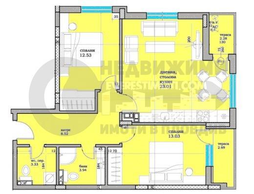 Тристаен апартамент в новoизграждаща се сграда в Кючук Париж-Пловдив