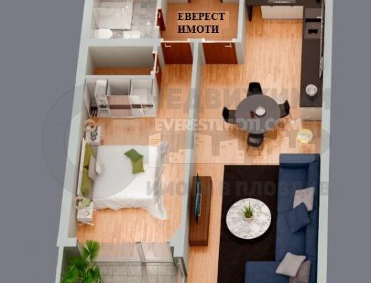 Просторен двустаен южен апартамент с хол в нова сграда - Община Район Западен, кв. Смирненски - Пловдив