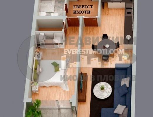 Просторен двустаен южен апартамент с хол в нова сграда до общината в кв. Смирненски – Пловдив