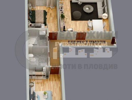 Тристаен апартамент в малка нова сграда до общината в кв. Смирненски – Пловдив