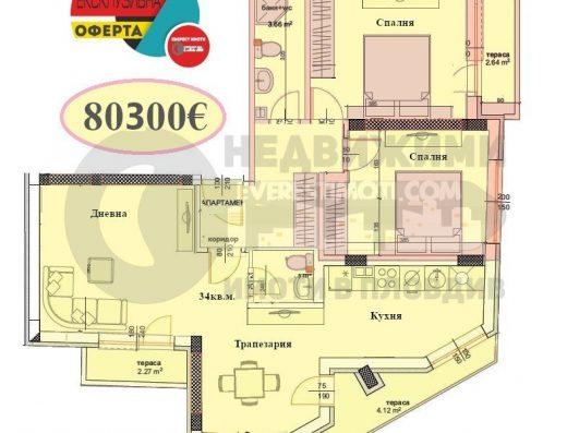 Тристаен апартамент в Каменица I - гр.Пловдив