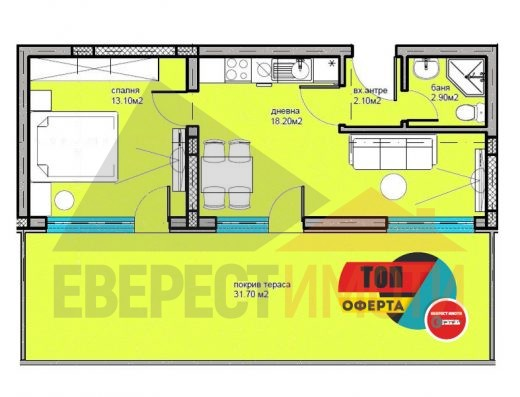 Двустаен Панорамен апартамент в Дизайнерска сграда в Кючук Париж–Пловдив