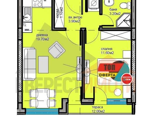 Двустаен апартамент в Дизайнерска сграда в Кючук Париж–Пловдив