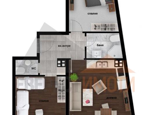 Тристаен апартамент в Дизайнерска сграда в Кючук Париж–Пловдив