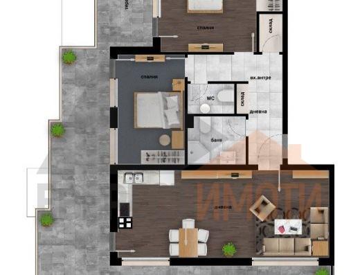 Тристаен Панорамен апартамент в Дизайнерска сграда в Кючук Париж–Пловдив