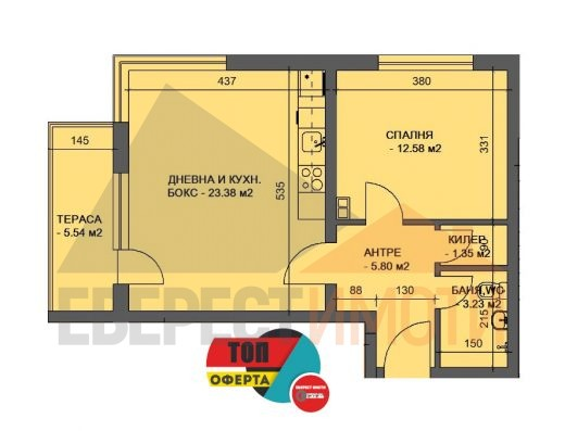 Двустаен апартамент в нова сграда в Кючук Париж гр. Пловдив