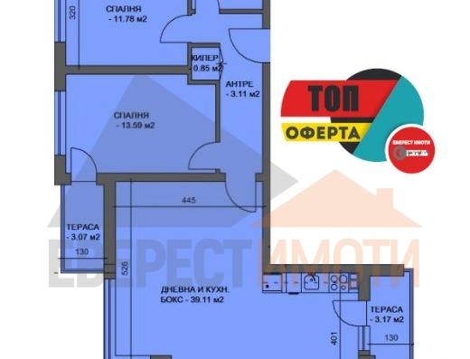 Тристаен апартамент в нова сграда в Кючук Париж гр. Пловдив